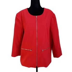 CLEO Red Lined Zippered Collarless Blazer 16